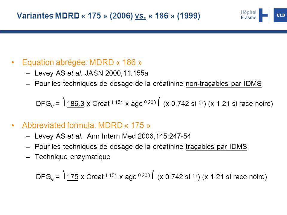 Variantes MDRD « 175 » (2006) vs. « 186 » (1999)