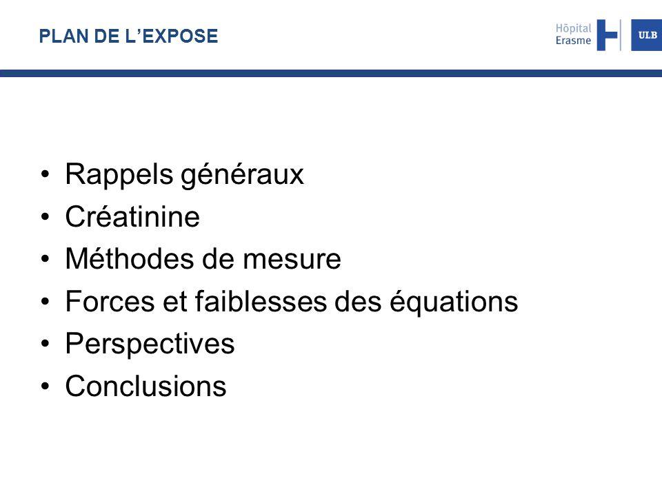 Forces et faiblesses des équations Perspectives Conclusions