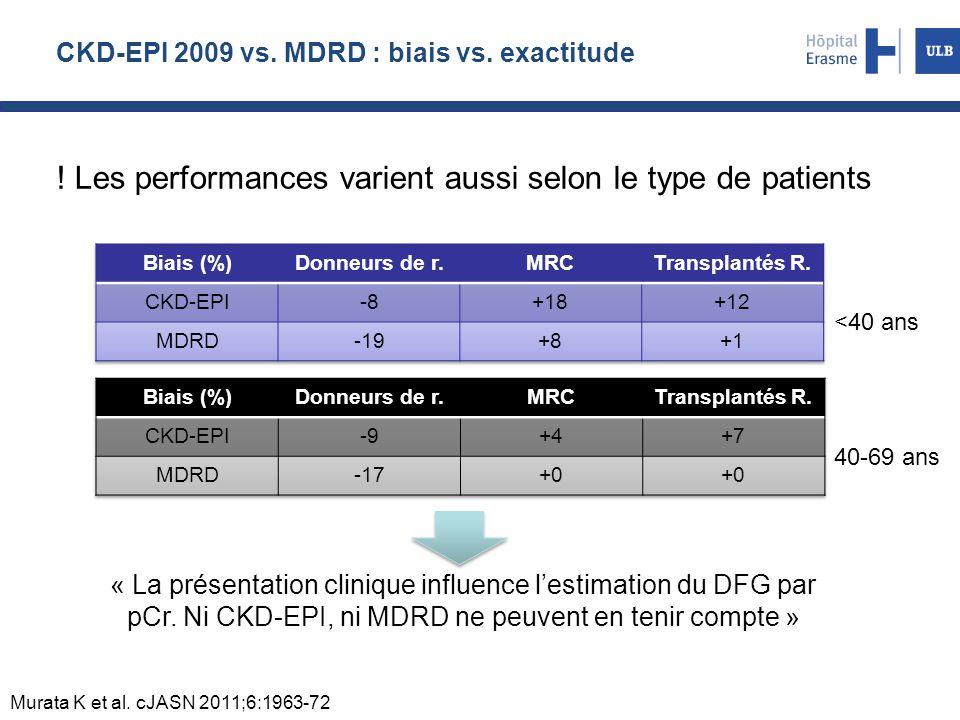 CKD-EPI 2009 vs. MDRD : biais vs. exactitude