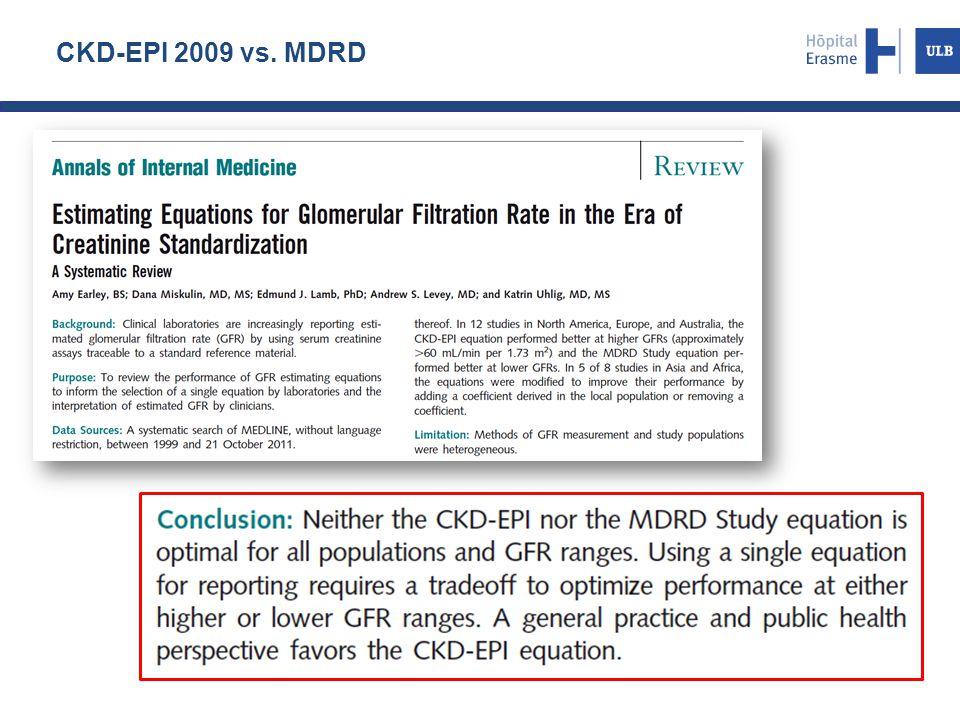 CKD-EPI 2009 vs. MDRD