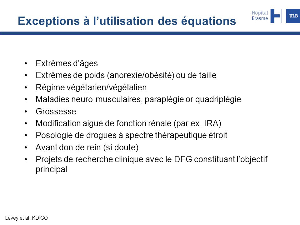 Exceptions à l'utilisation des équations