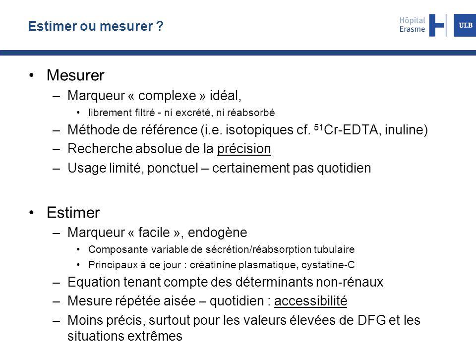 Mesurer Estimer Estimer ou mesurer Marqueur « complexe » idéal,
