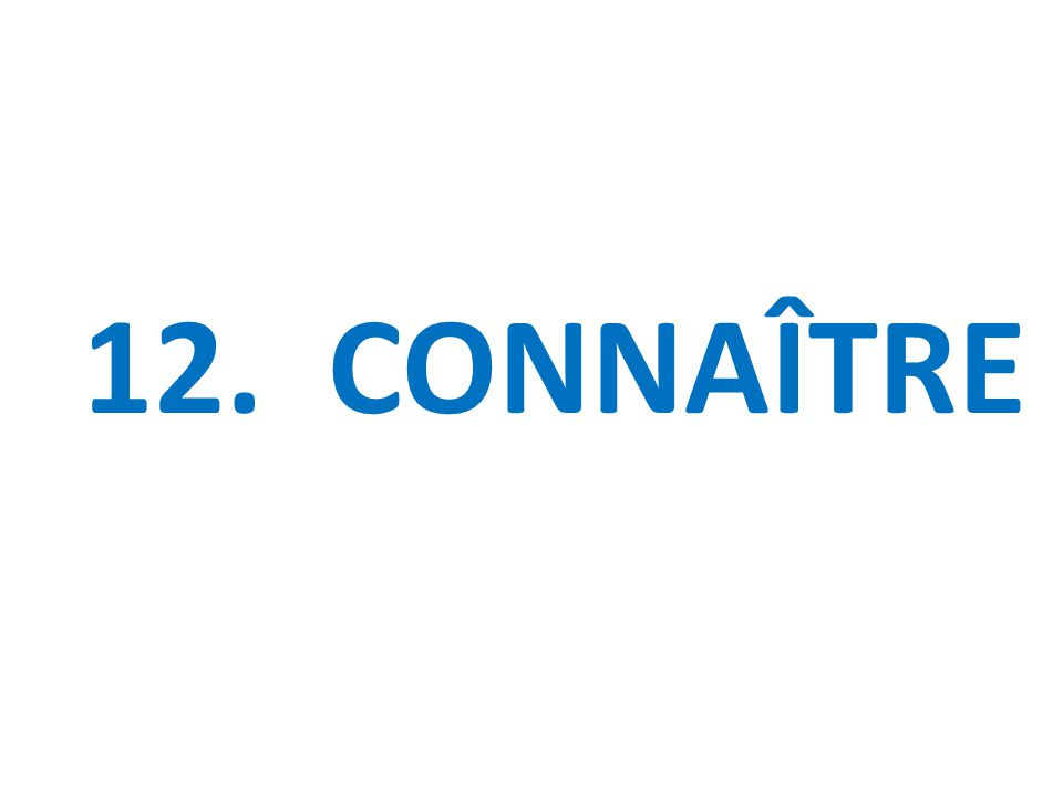 12. CONNAÎTRE