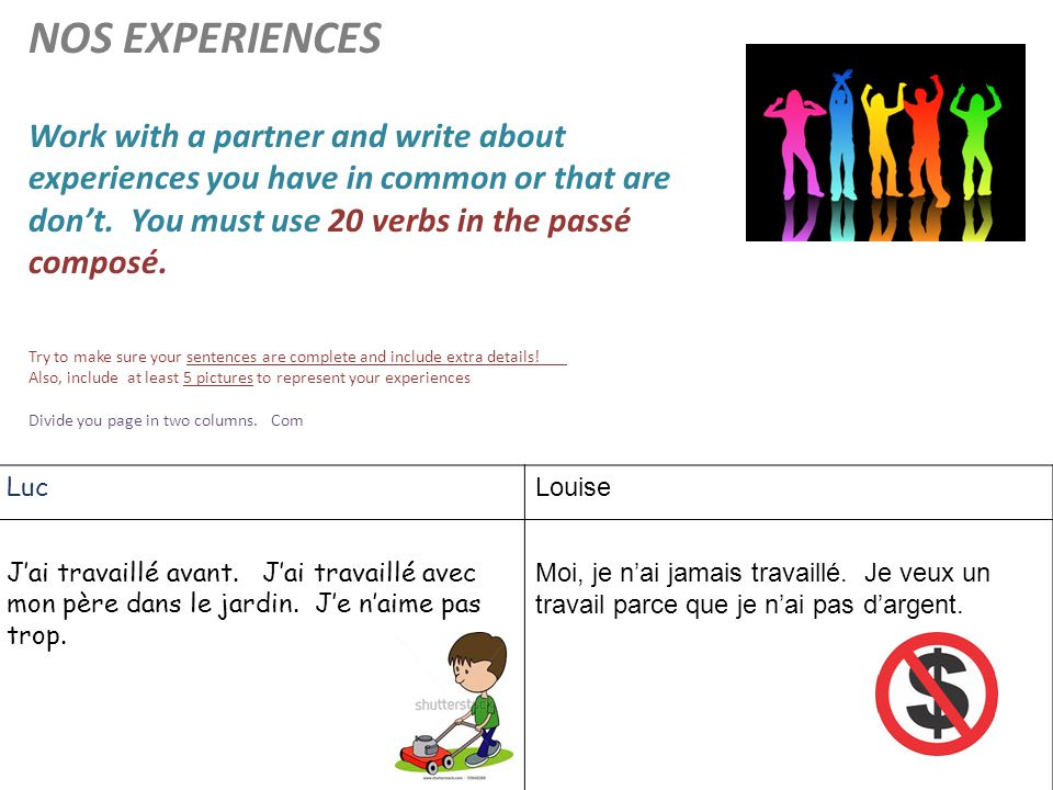 NOS EXPERIENCES Work with a partner and write about. experiences you have in common or that are. don't. You must use 20 verbs in the passé.