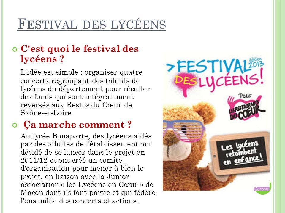 Festival des lycéens C est quoi le festival des lycéens