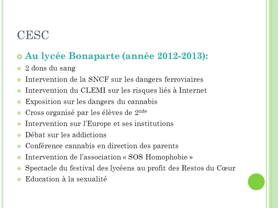 CESC Au lycée Bonaparte (année 2012-2013): 2 dons du sang