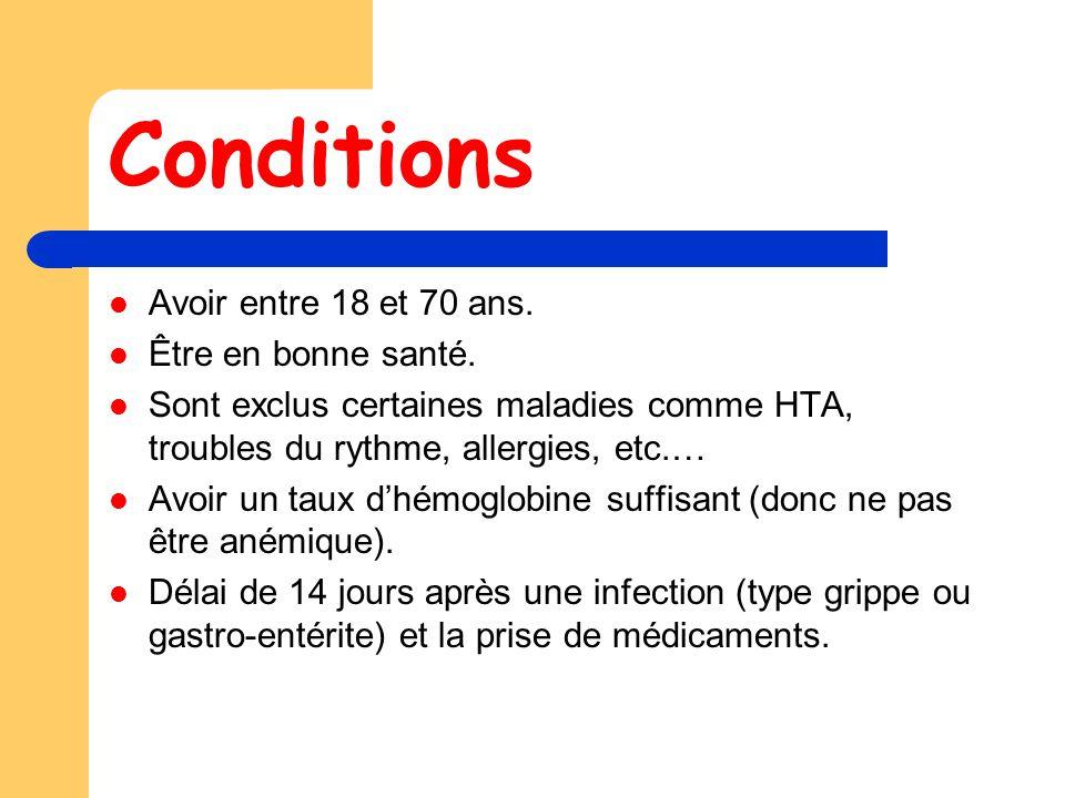 Conditions Avoir entre 18 et 70 ans. Être en bonne santé.
