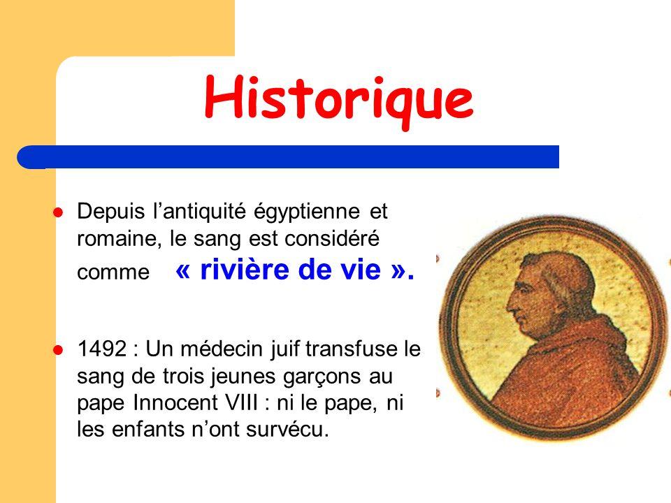Historique Depuis l'antiquité égyptienne et romaine, le sang est considéré comme « rivière de vie ».