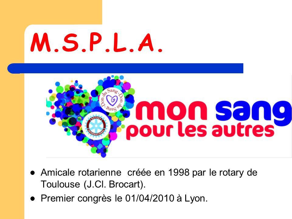 M.S.P.L.A. Amicale rotarienne créée en 1998 par le rotary de Toulouse (J.Cl.