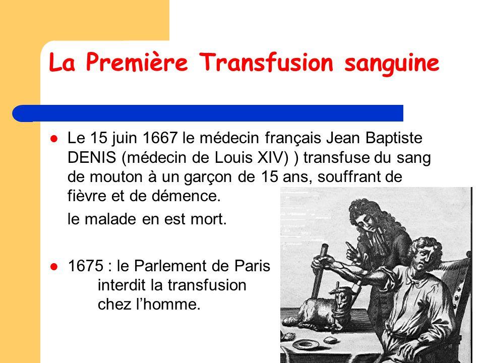 La Première Transfusion sanguine