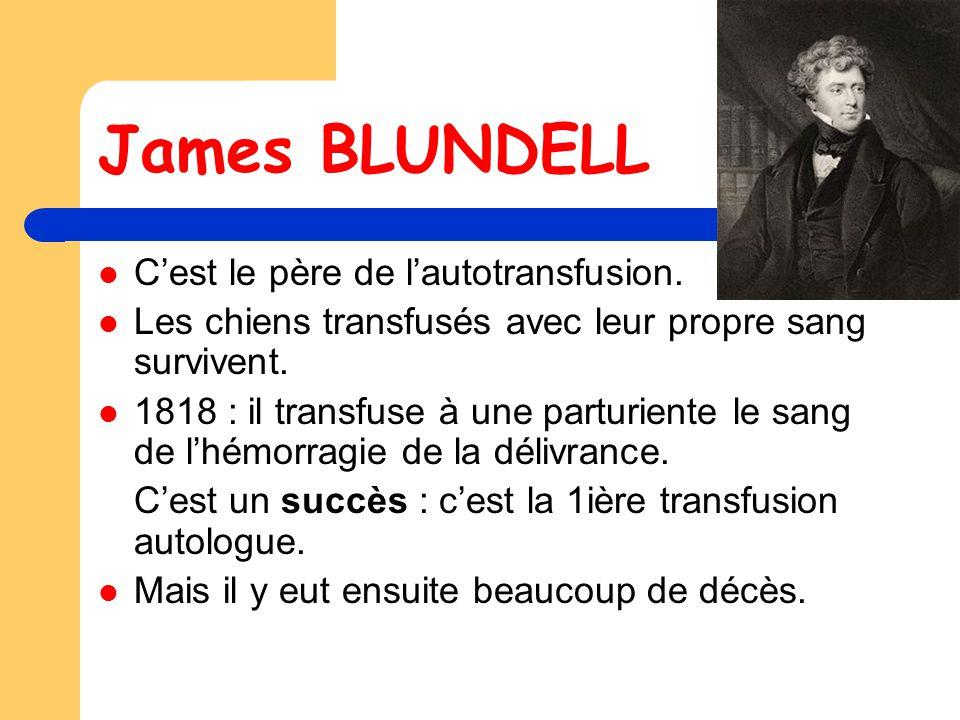 James BLUNDELL C'est le père de l'autotransfusion.
