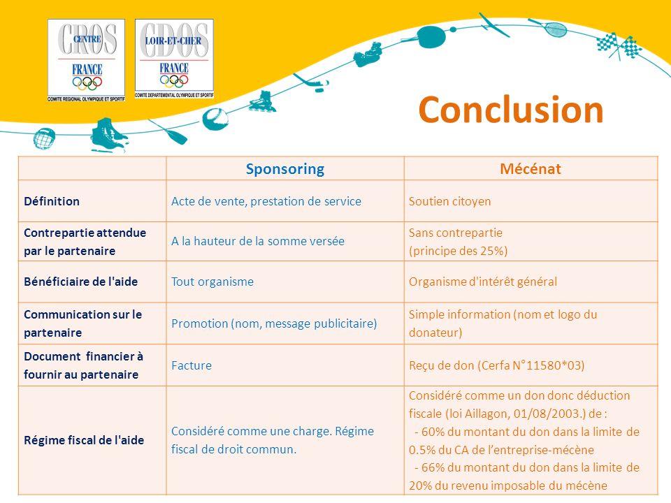 Conclusion Sponsoring Mécénat Définition