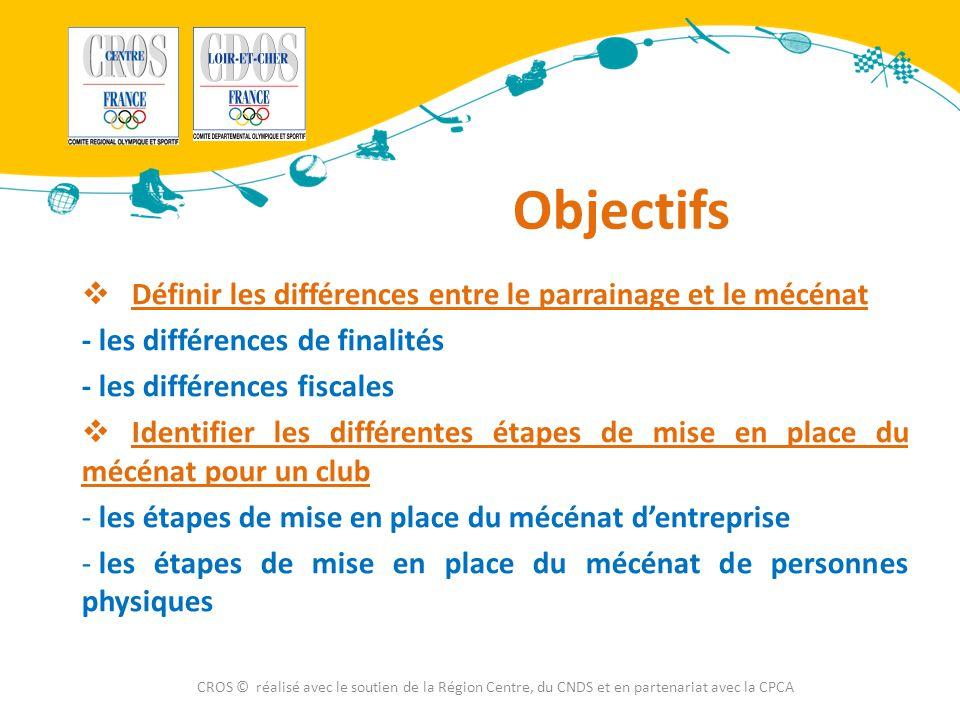 Objectifs Définir les différences entre le parrainage et le mécénat