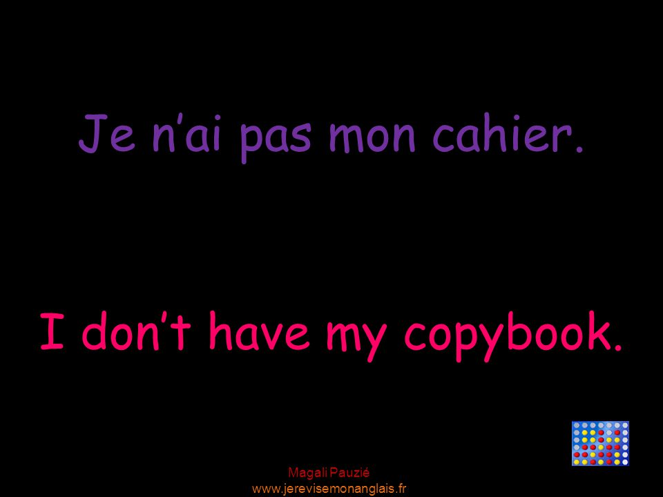 I don't have my copybook.
