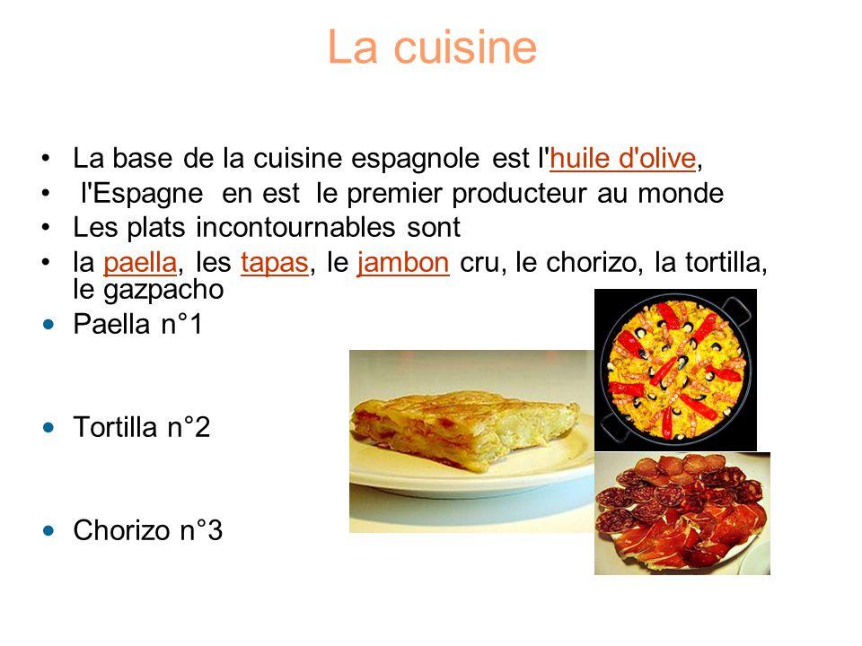La cuisine La base de la cuisine espagnole est l huile d olive,