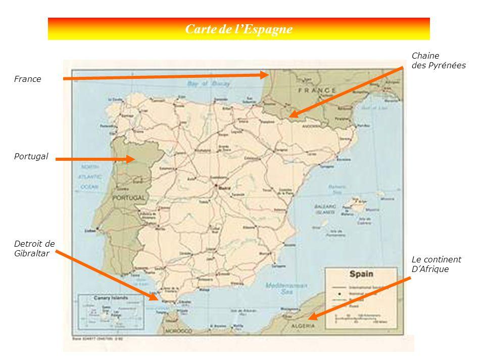 Carte de l'Espagne Chaine des Pyrénées France Portugal Le continent