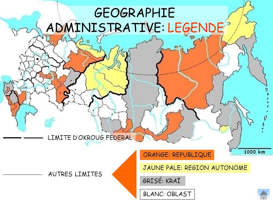 GEOGRAPHIE ADMINISTRATIVE: LEGENDE