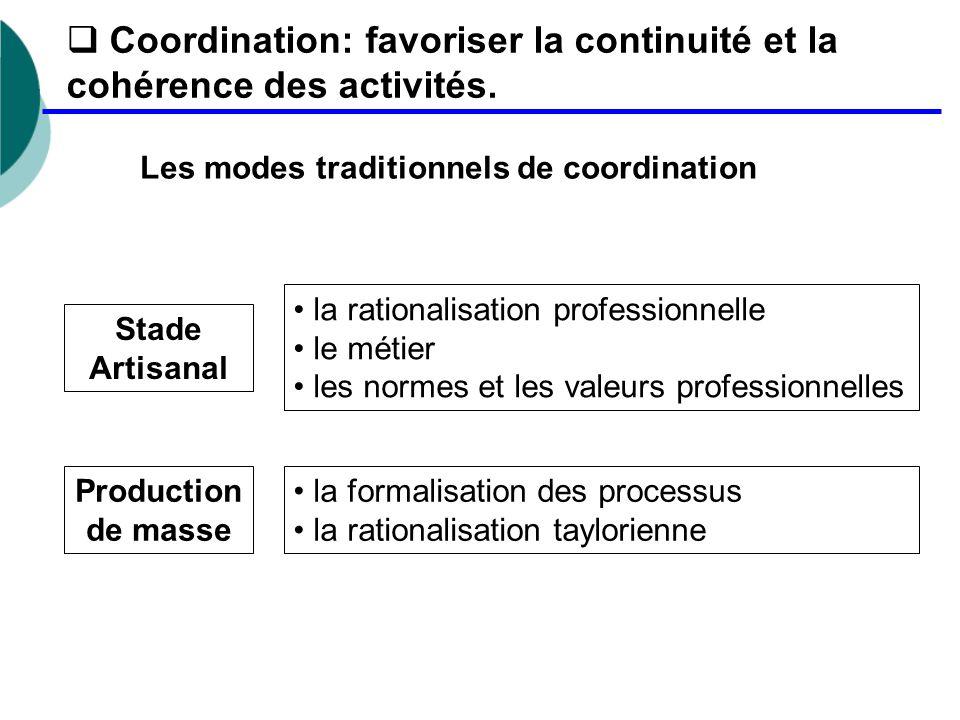 Coordination: favoriser la continuité et la cohérence des activités.