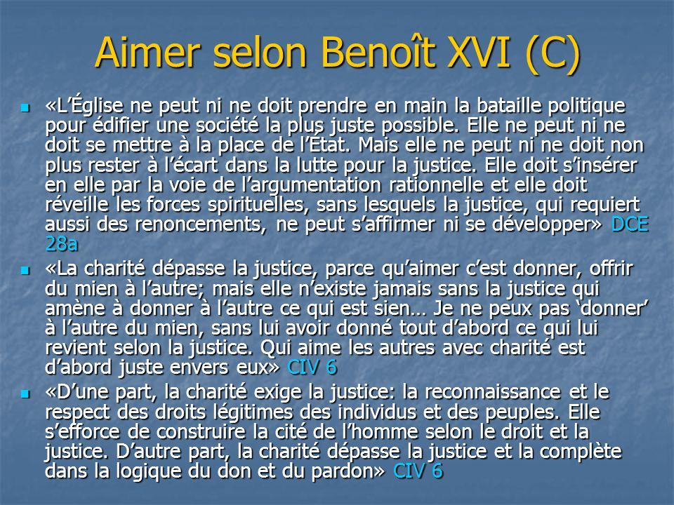 Aimer selon Benoît XVI (C)