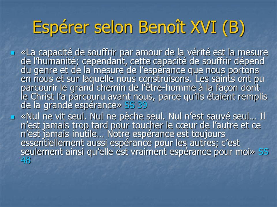 Espérer selon Benoît XVI (B)