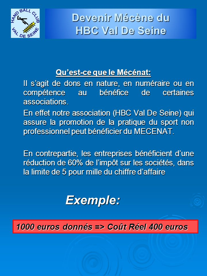 Devenir Mécène du HBC Val De Seine