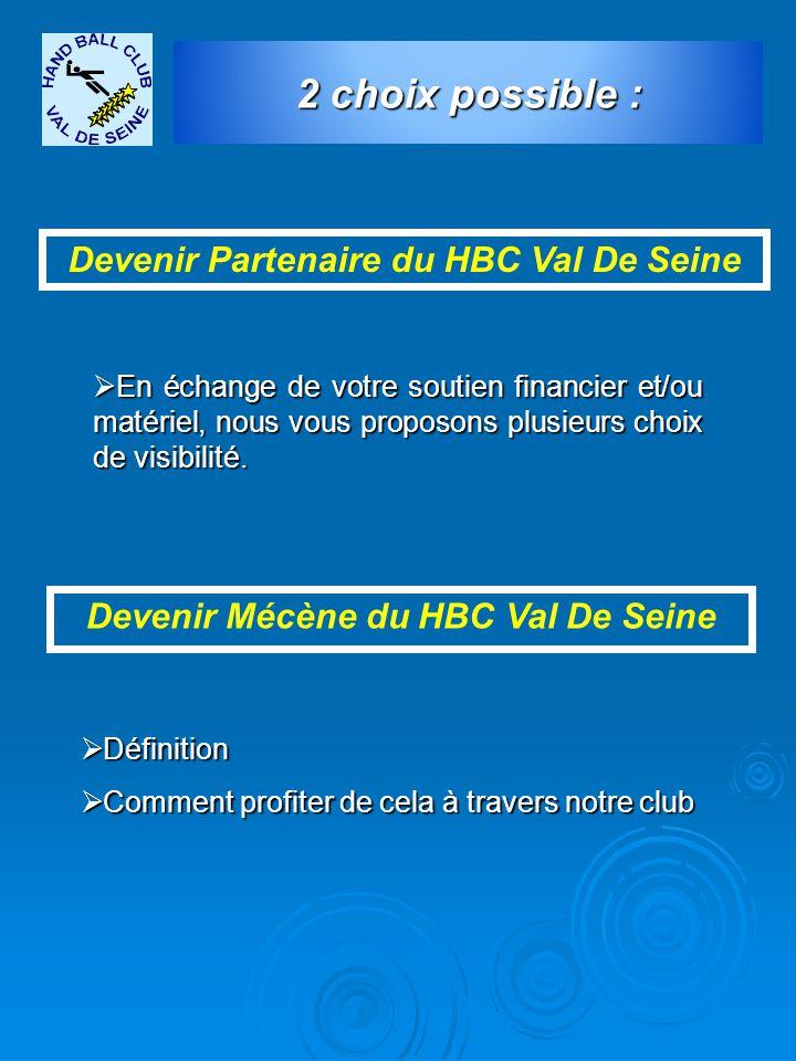 2 choix possible : Devenir Partenaire du HBC Val De Seine