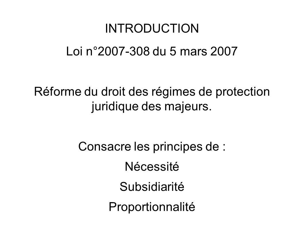 Réforme du droit des régimes de protection juridique des majeurs.