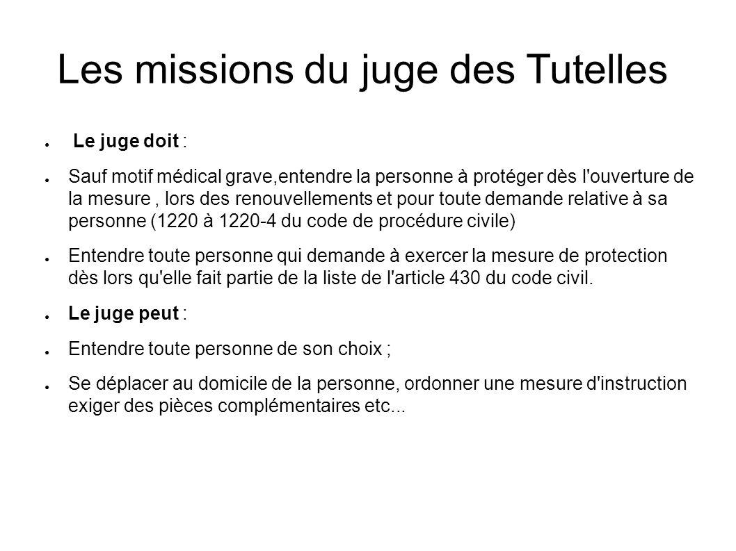 Les missions du juge des Tutelles