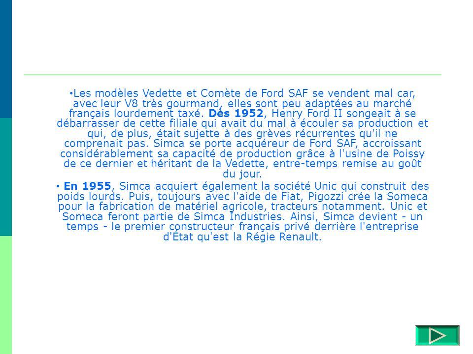 Les modèles Vedette et Comète de Ford SAF se vendent mal car, avec leur V8 très gourmand, elles sont peu adaptées au marché français lourdement taxé. Dès 1952, Henry Ford II songeait à se débarrasser de cette filiale qui avait du mal à écouler sa production et qui, de plus, était sujette à des grèves récurrentes qu il ne comprenait pas. Simca se porte acquéreur de Ford SAF, accroissant considérablement sa capacité de production grâce à l usine de Poissy de ce dernier et héritant de la Vedette, entre-temps remise au goût du jour.