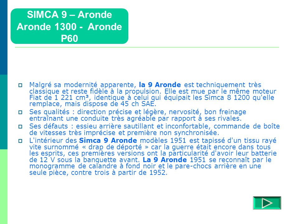 SIMCA 9 – Aronde Aronde 1300 - Aronde P60