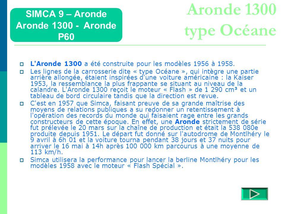 Aronde 1300 type Océane SIMCA 9 – Aronde Aronde 1300 - Aronde P60