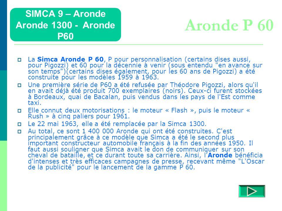 Aronde P 60 SIMCA 9 – Aronde Aronde 1300 - Aronde P60
