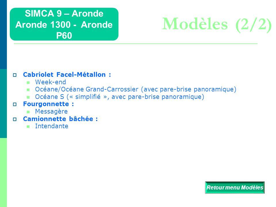 Modèles (2/2) SIMCA 9 – Aronde Aronde 1300 - Aronde P60