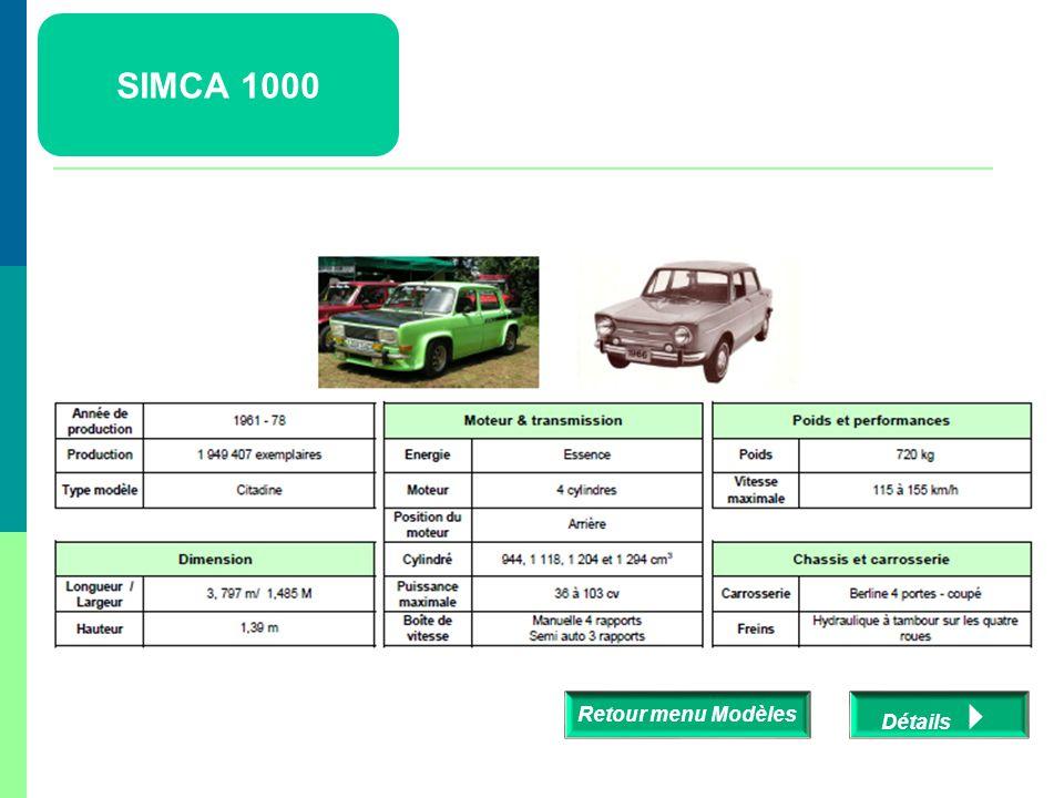 SIMCA 1000 Retour menu Modèles Détails 