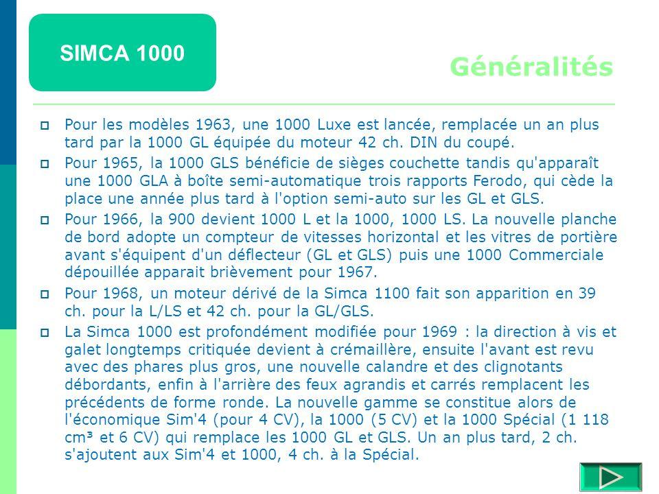 SIMCA 1000 Généralités.