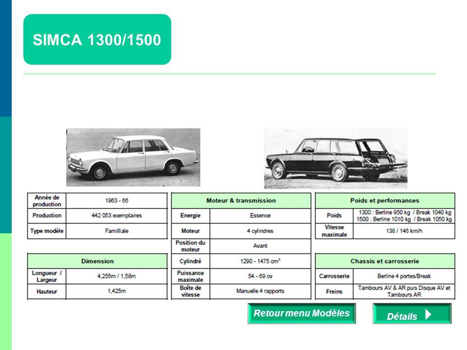 SIMCA 1300/1500 Retour menu Modèles Détails 