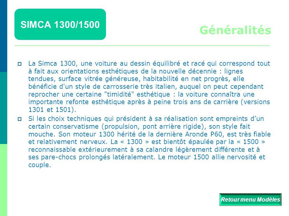 SIMCA 1300/1500 Généralités.