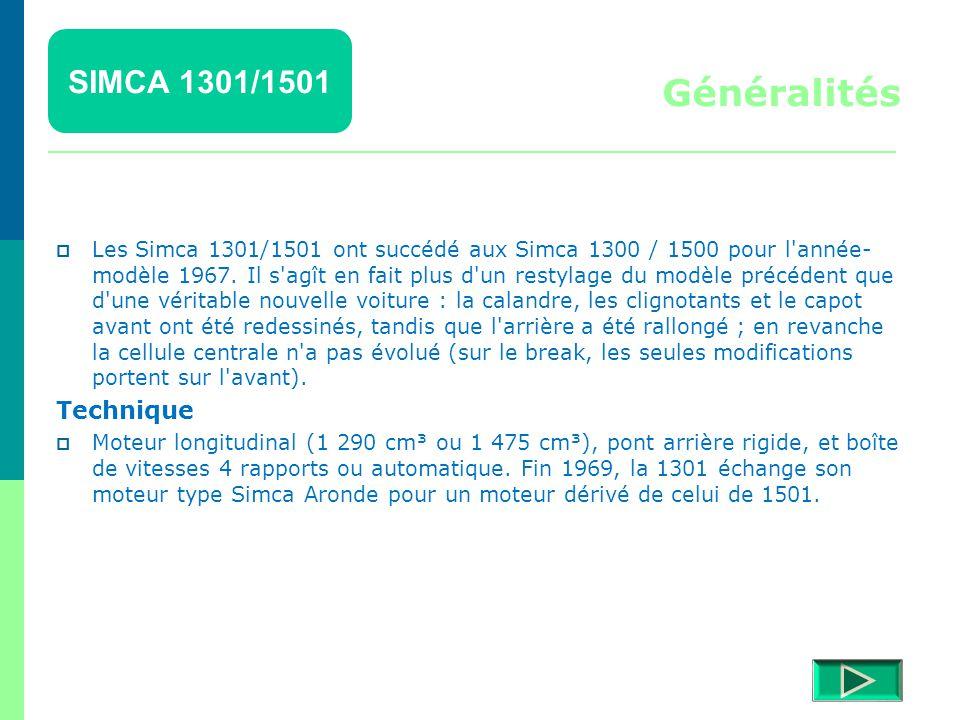 Généralités SIMCA 1301/1501 Technique