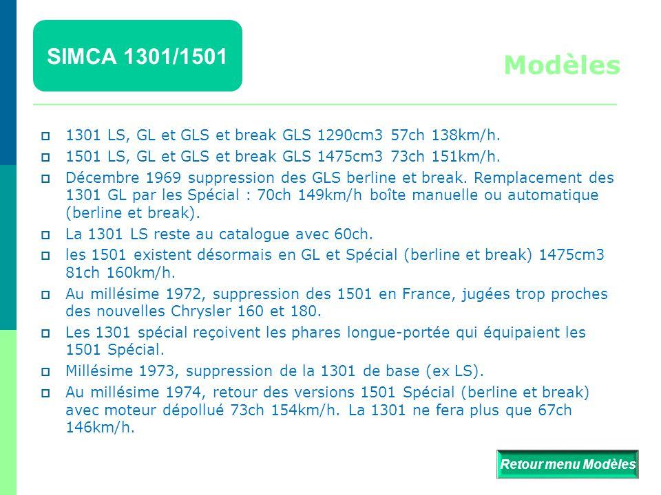 SIMCA 1301/1501 Modèles. 1301 LS, GL et GLS et break GLS 1290cm3 57ch 138km/h. 1501 LS, GL et GLS et break GLS 1475cm3 73ch 151km/h.