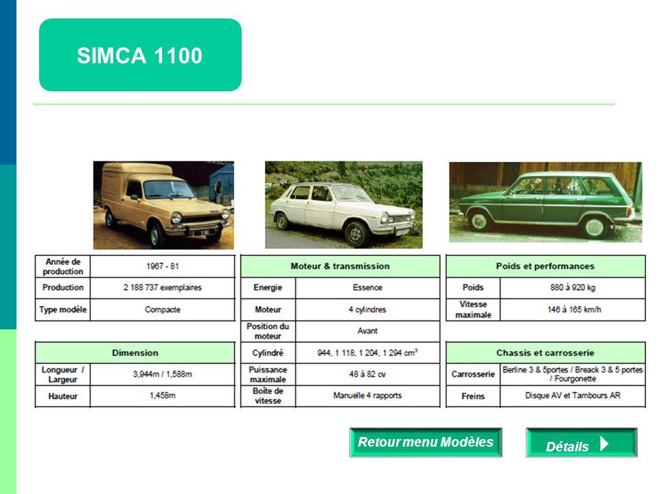 SIMCA 1100 Retour menu Modèles Détails 