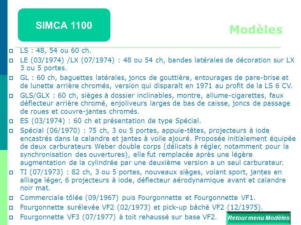 SIMCA 1100 Modèles. LS : 48, 54 ou 60 ch. LE (03/1974) /LX (07/1974) : 48 ou 54 ch, bandes latérales de décoration sur LX 3 ou 5 portes.