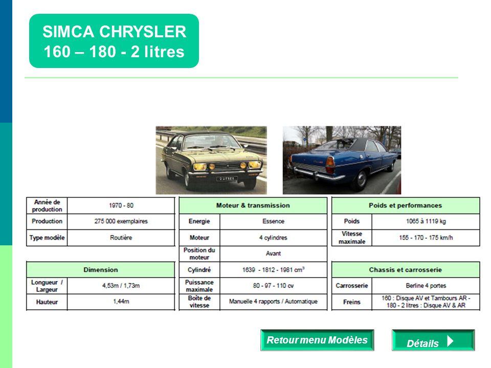 SIMCA CHRYSLER 160 – 180 - 2 litres