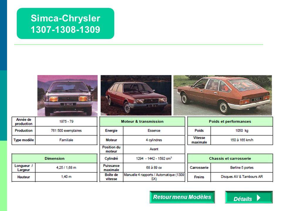 Simca-Chrysler 1307-1308-1309 Retour menu Modèles Détails 