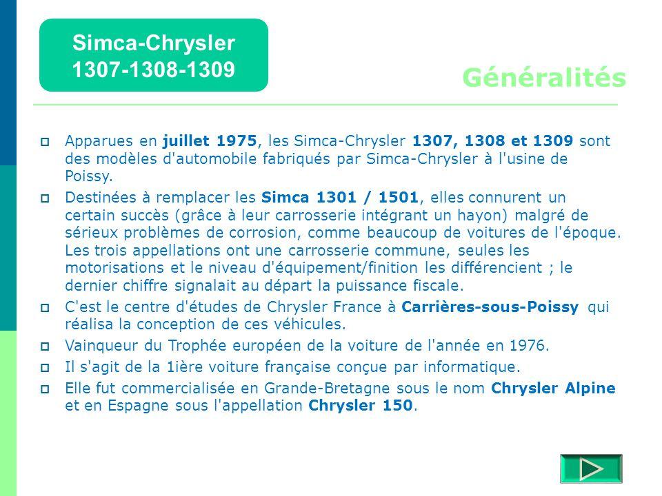 Généralités Simca-Chrysler 1307-1308-1309