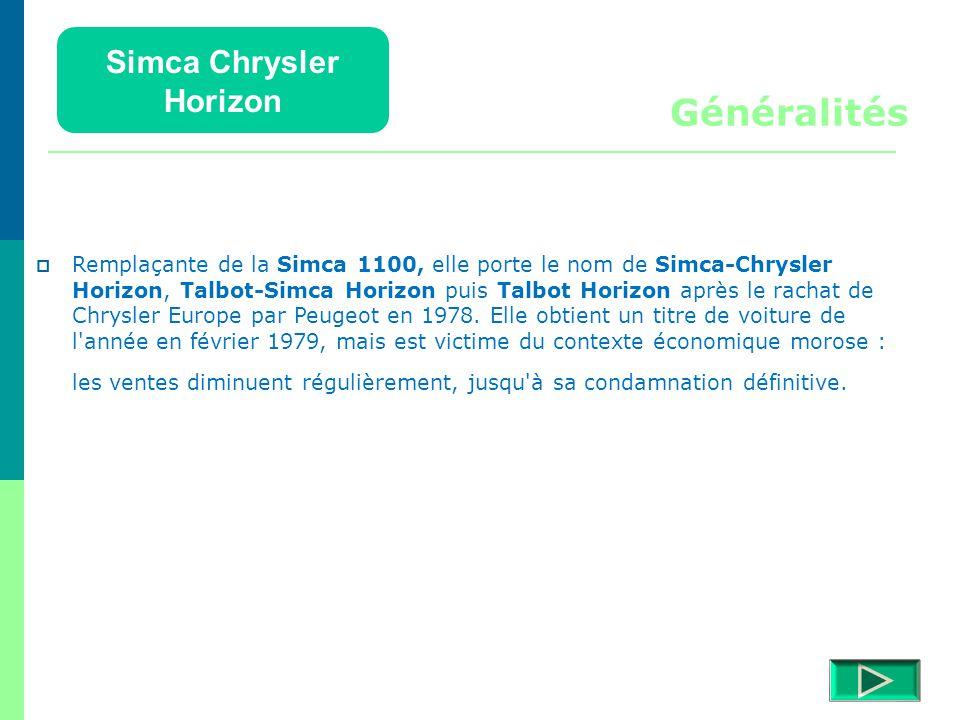 Généralités Simca Chrysler Horizon