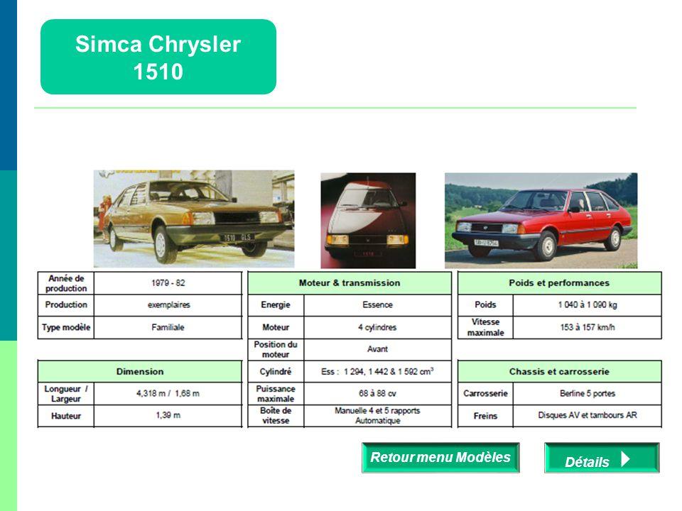 Simca Chrysler 1510 Retour menu Modèles Détails 