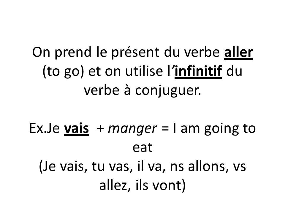 On prend le présent du verbe aller (to go) et on utilise l'infinitif du verbe à conjuguer.