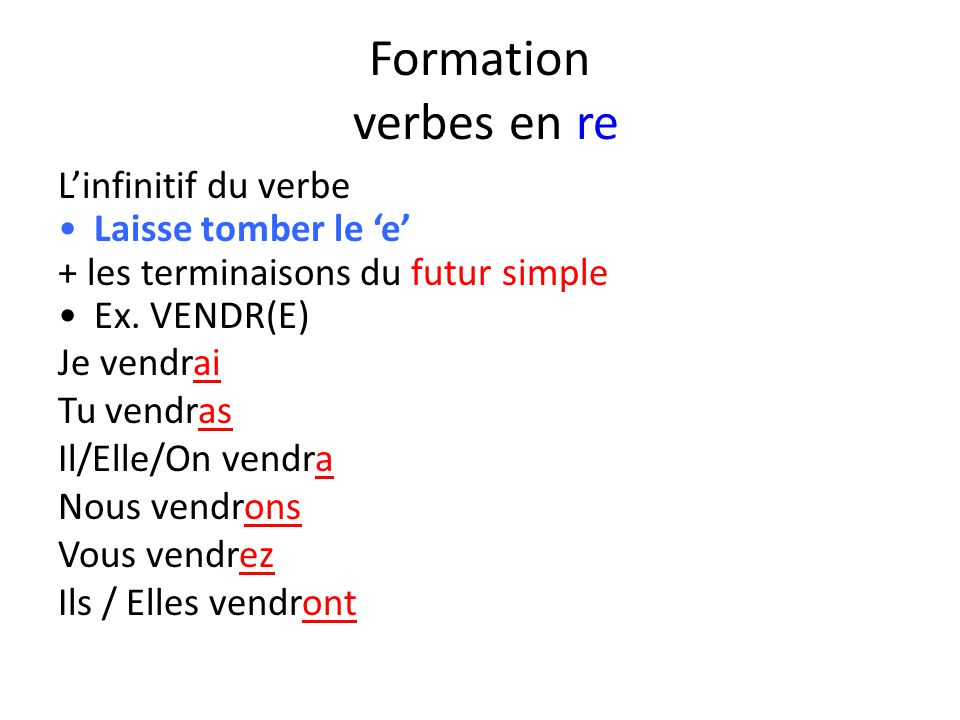 Formation verbes en re L'infinitif du verbe Laisse tomber le 'e'