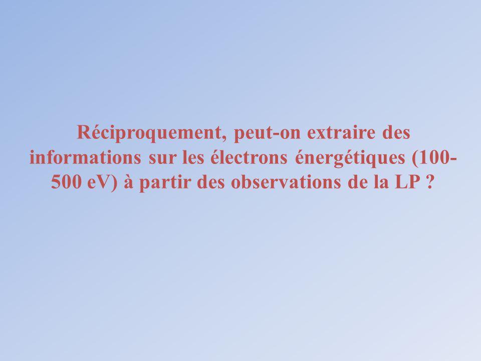 Réciproquement, peut-on extraire des informations sur les électrons énergétiques (100-500 eV) à partir des observations de la LP