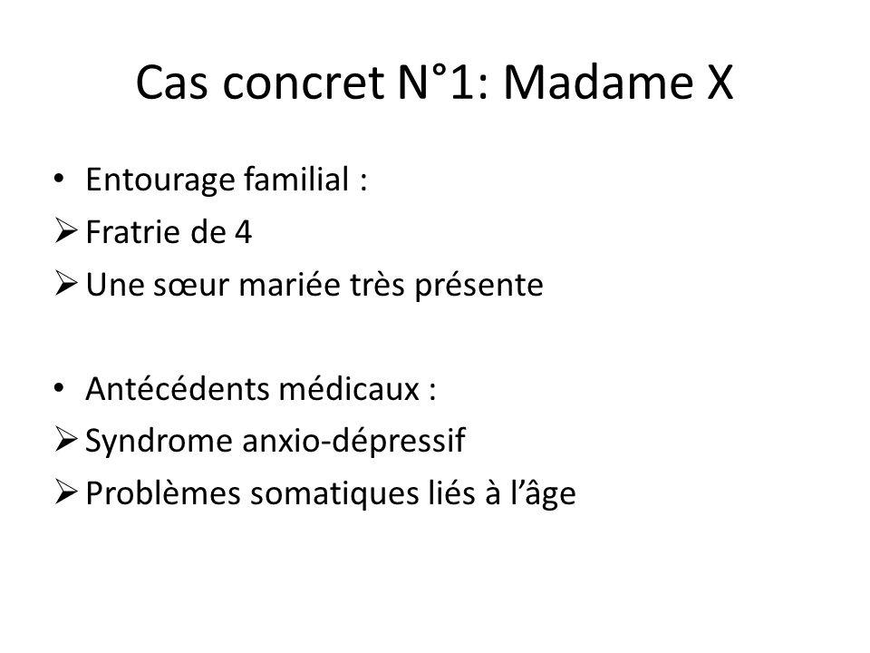Cas concret N°1: Madame X